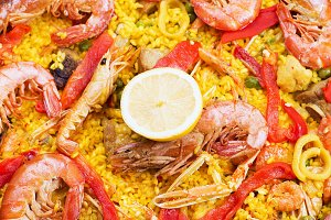 Big pot with paella