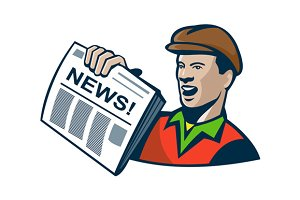 Newsboy Newspaper Delivery Retro