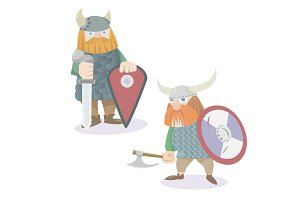 Two viking warriors vector flat style illustration