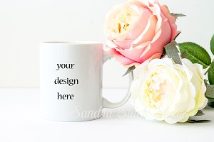 Coffe mug mockup with peonies