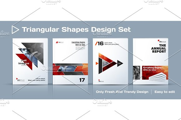 Set Of Abstract Business Design Annual Report Vector Template Brochure