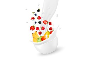 Fresh fruit  falling into the milk