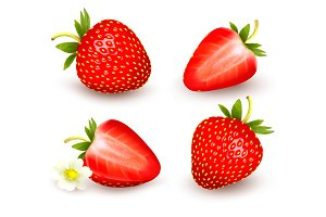 A set of fresh strawberry