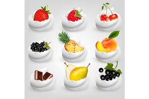 Big collection of fruit in cream