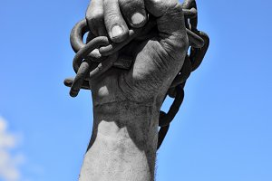 Dirty hand with chain