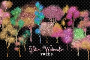 Glitter Watercolor Trees Clipart