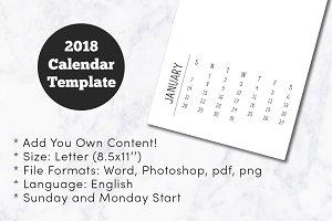 2018 Minimal Calendar Template