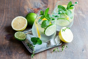 Refreshing cold iced mint drink
