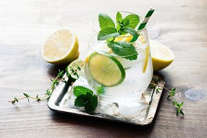Refreshind cold drink with mint