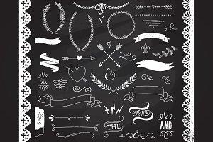 Chalkboard Laurels clipart, Ribbons