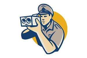 policeman with police speed camera r