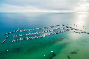 Aerial seascape of moored boats