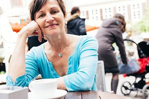 Senior Woman Enjoying A Cup Of Coffee, Tuebingen, Germany