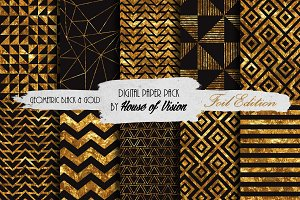Geometric Blk and Gold Pack