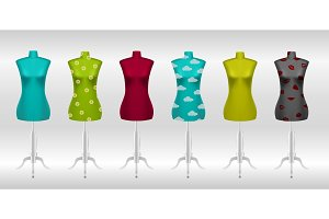 Big set of different female tailors dummy mannequins