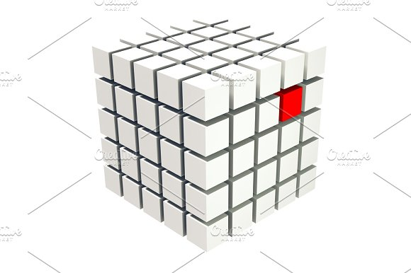 White Cubes With A Red One Standing Out