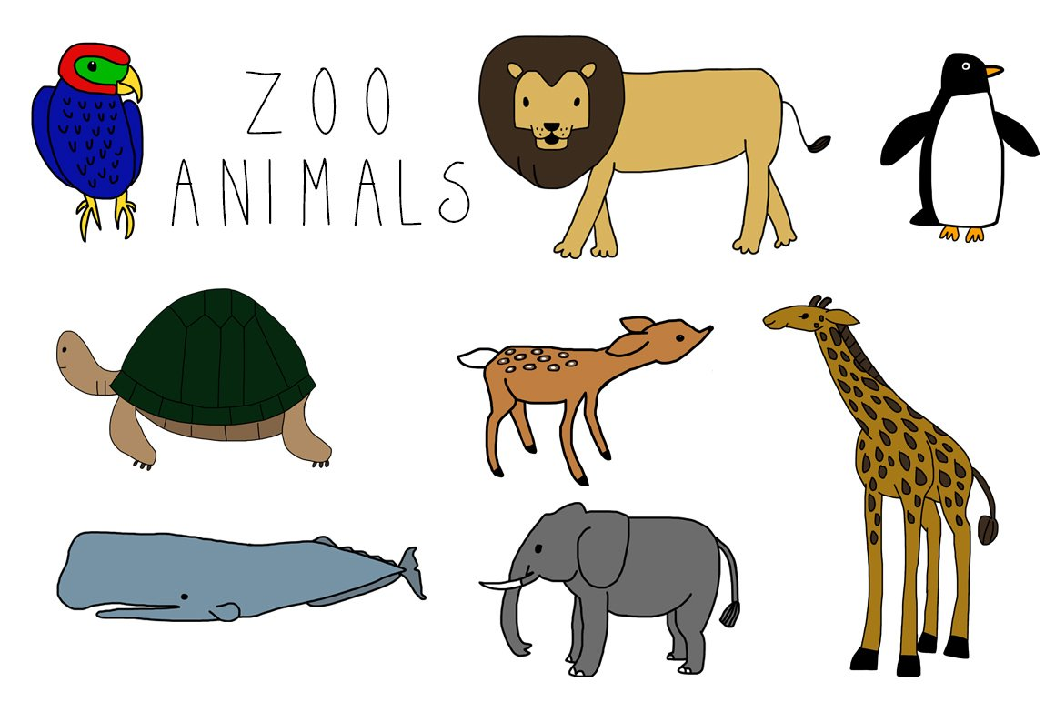 Zoo Animals Together Clipart Zoo Animals ~ I...