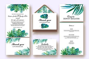 Watercolor tropical invitation