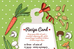 Recipe card with vegetables & pasta