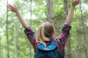 Girl Celebrating on Hike
