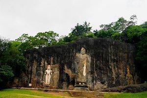 Exterior view to Buduruwagala buddist temple. Sri-Lanka