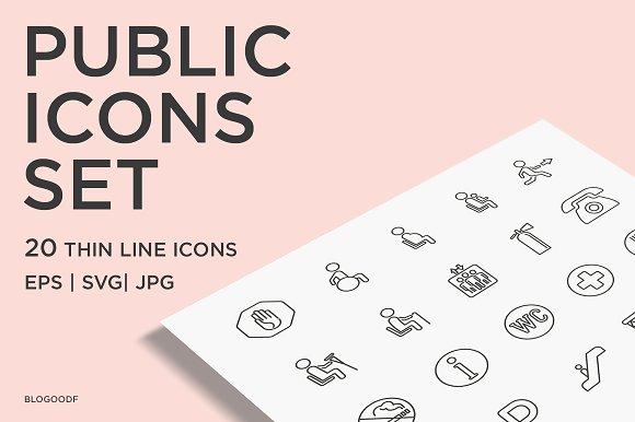 20 Public Icons Set Thin Line