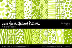 Lime Green Animal Digital Papers