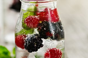 Tasty fresh summer detox drink jar