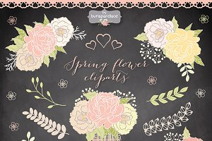 Spring flower cliparts chalkboard