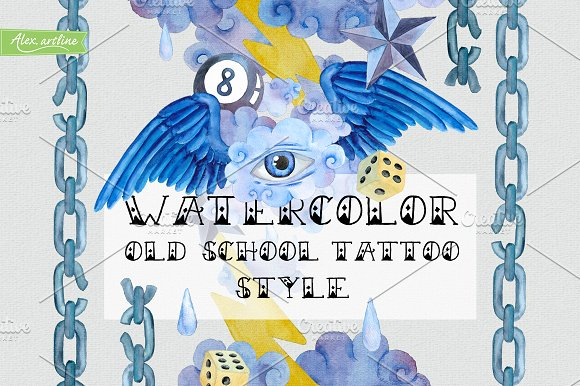 Watercolor Old School Tattoo Style