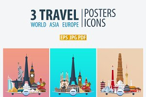 Travel Posters. World, Asia, Europe