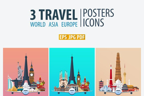 Travel Posters World Asia Europe