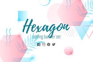 Hexagon rattling banner set