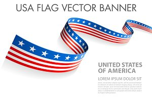 Vector US flag ribbon