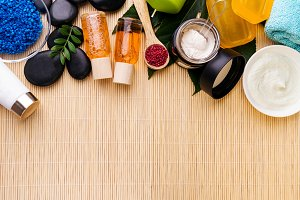 Spa Care Products Flat Lay Asian