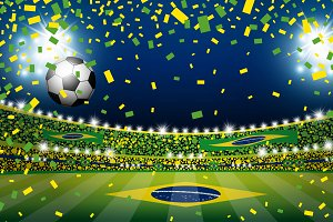 Vector Soccer ball in brazil stadium