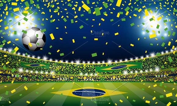 Vector Soccer Ball In Brazil Stadium