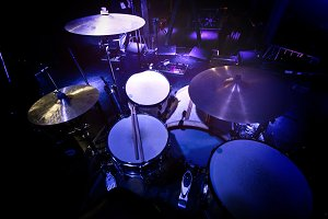 Drums and cymbals.