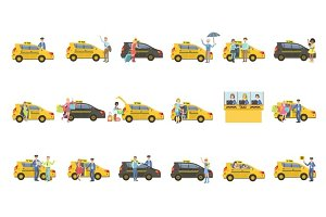 Taxi, Drivers And Their Clients Set