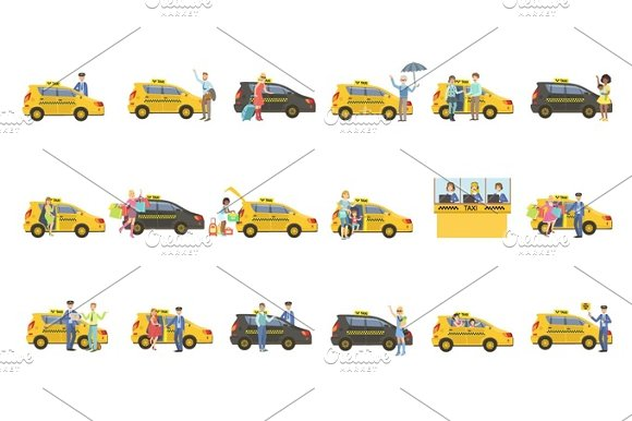 Taxi Drivers And Their Clients Set