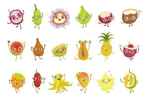 Tropical Fruits Girly Cartoon Characters Set