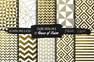 Geometric Wht and Gold Pack