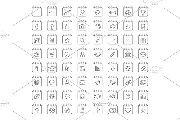 Calendars Linear Icons Set