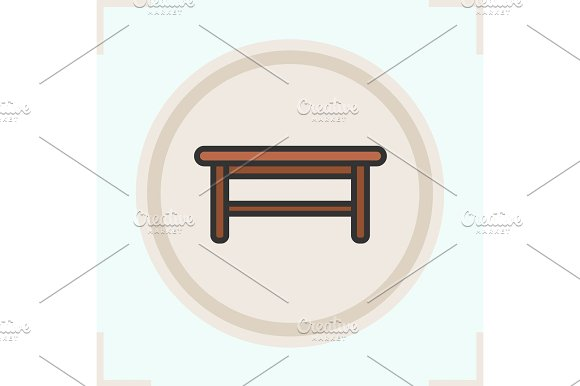 Wooden Table Color Icon