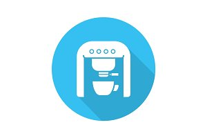 Espresso machine flat design long shadow glyph icon