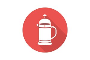 French press flat design long shadow glyph icon