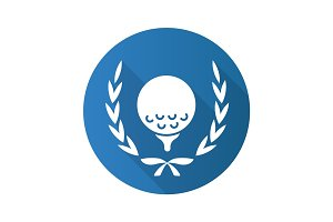 Golf championship flat design long shadow glyph icon