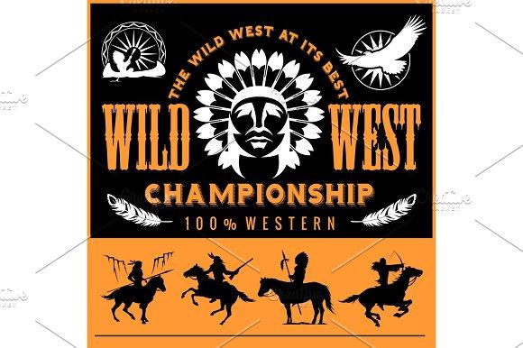 Wild West Native American Chief Head Illustration Design Elements For Logo Label Emblem Sign