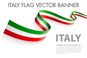 Vector ITALY flag ribbon
