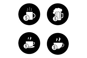 Buy drinks glyph icons set